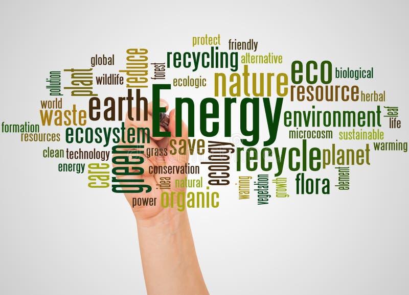 Alternative Wortwolke und -hand der Energie mit Markierungskonzept lizenzfreie abbildung