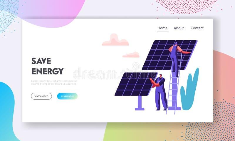 Alternatives saubere Energie-Konzept mit Sonnenkollektoren und Ingenieur-Character Landing Page-Schablone Auswechselbare Solarene stock abbildung