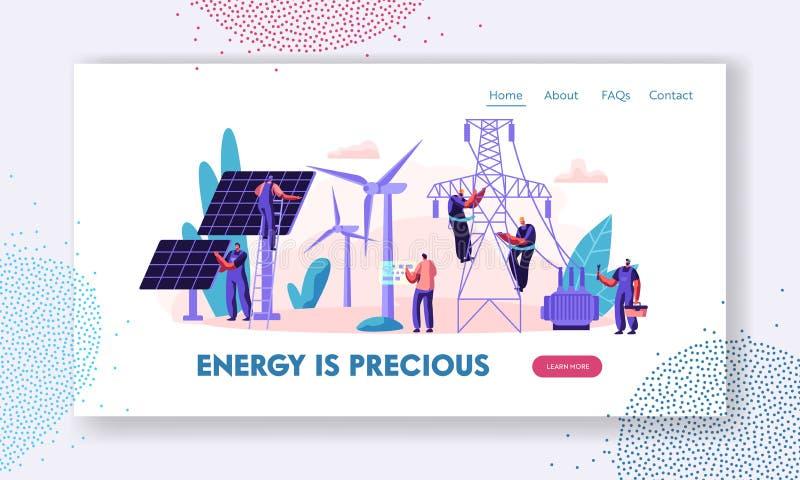 Alternatives saubere Energie-Konzept mit Sonnenkollektoren, Windkraftanlagen und Ingenieur Character Landing Page Auswechselbare  lizenzfreie abbildung