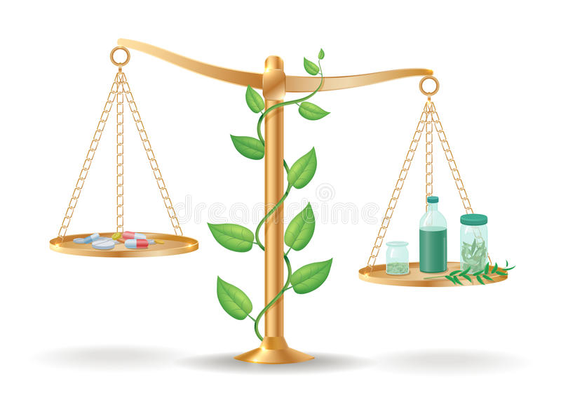 Alternativmedizin-Waage-Balancen-Konzept stock abbildung