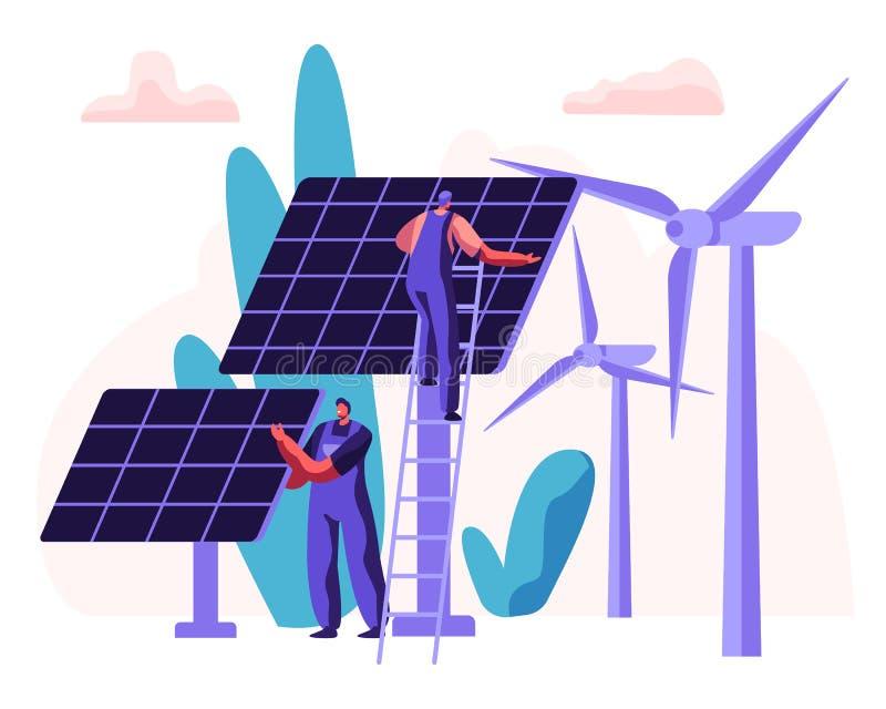 Alternativt begrepp för ren energi med solpaneler, vindturbiner och teknikern Character Förnybara maktkällor med väderkvarnar royaltyfri illustrationer