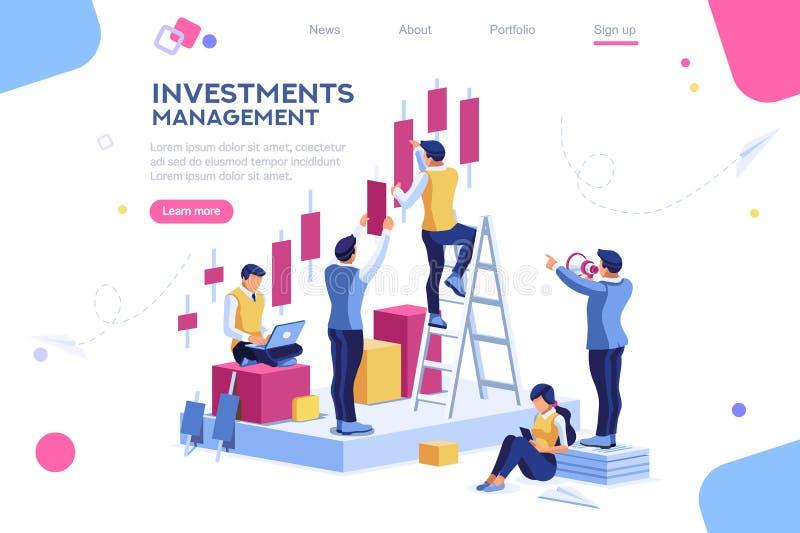 Alternativt framsteg, byggnadsannons, investeringledning för företag vektor illustrationer