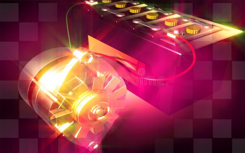 Alternator charging a automobile battery stock illustration