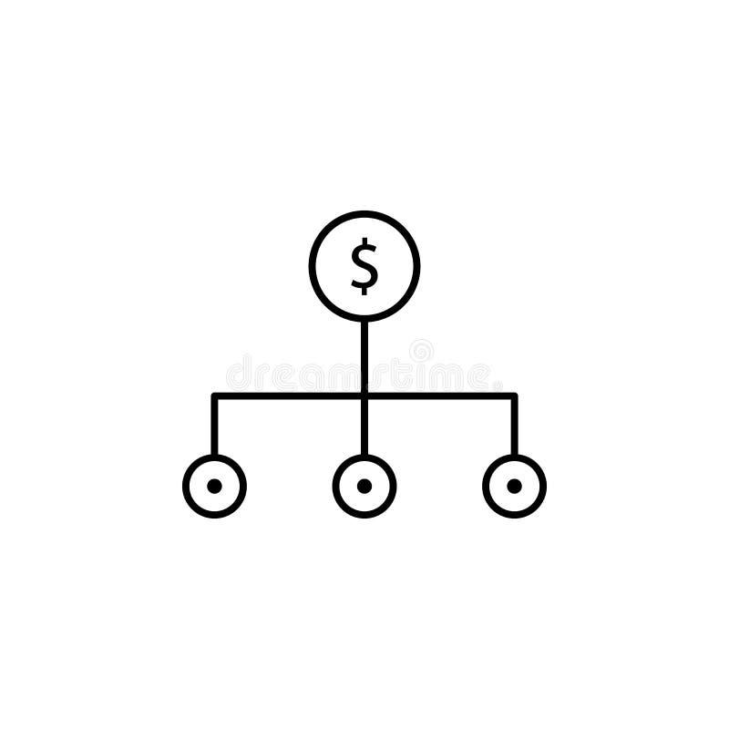 Alternatywa, przepływ gotówki ikona Element pieniądze dywersyfikacja ilustracja Premii ilości graficznego projekta ikona podpisz  royalty ilustracja