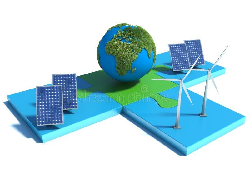 Alternatywna energia, ogniwo słoneczne, ziemia, silnik wiatrowy royalty ilustracja