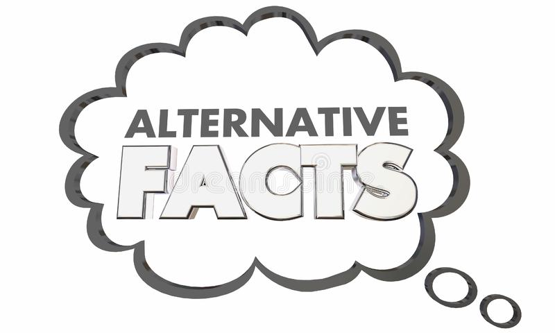 Alternatywna fact kłamstw Mistruths krzywda informaci myśli chmura royalty ilustracja