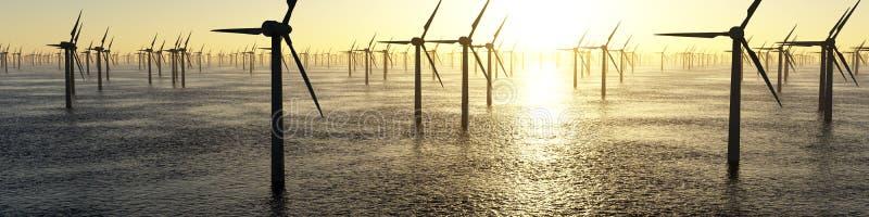 alternatywne źródła energii, turbiny farmy wiatr ilustracji