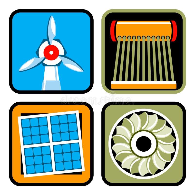 alternatywnej energii ikony ustaleni źródła ilustracji