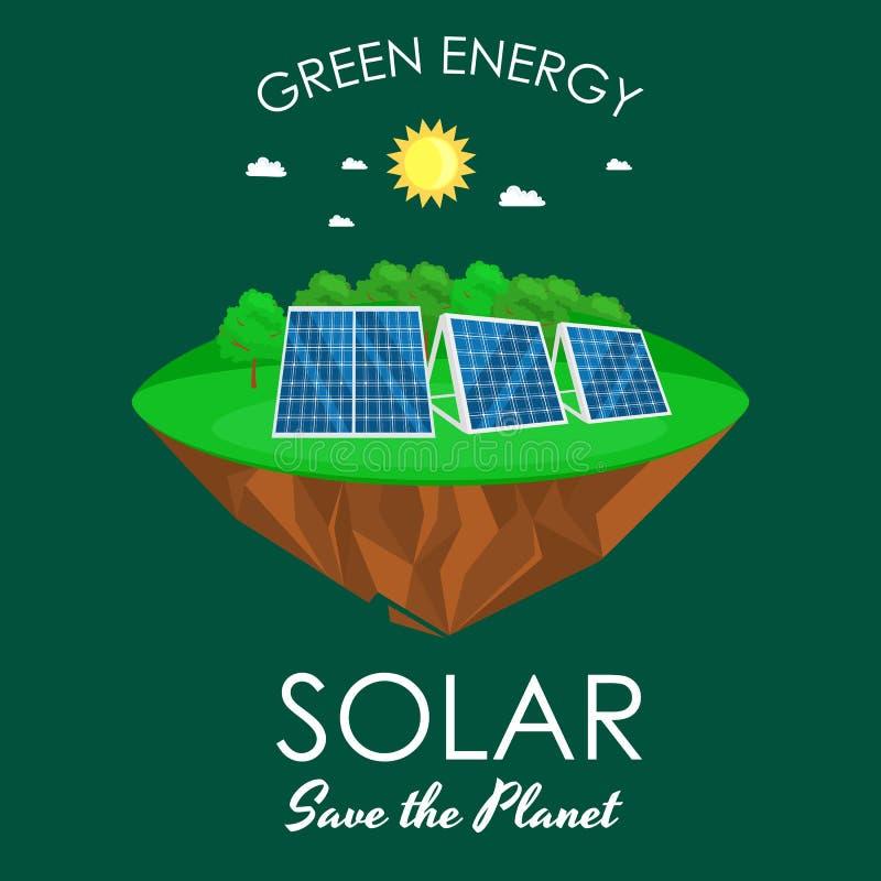 Alternatywnej energii władza, słoneczny elektryczność panelu pole na zielonej trawy ekologii pojęciu, technologia odnawialny słoń ilustracji