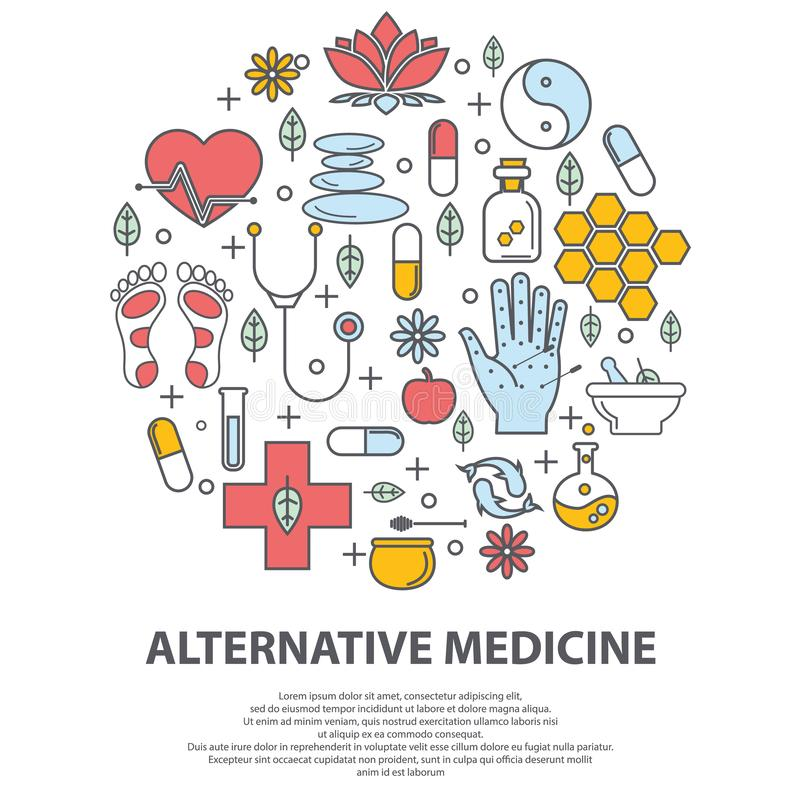 Alternatywnej medycyny centre wektoru poj?cie Holistyczny centrum, naturopathic medycyna, homeopatia, akupunktura, ayurveda ilustracji