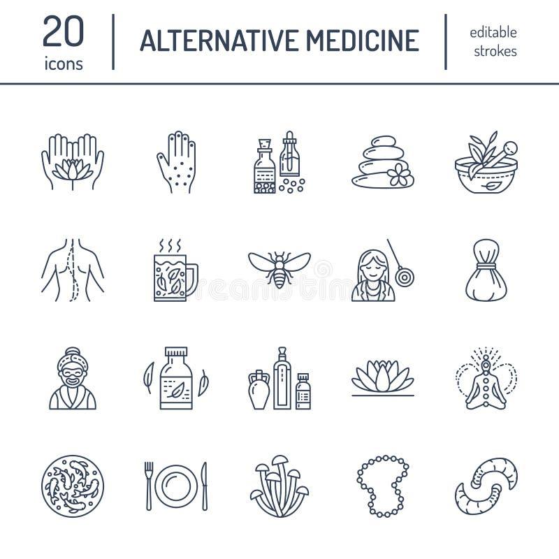 Alternatywnej medycyny linii ikony Naturopathy, tradycyjny traktowanie, homeopatia, osteopatia, ziołowa ryba i pijawka, ilustracji
