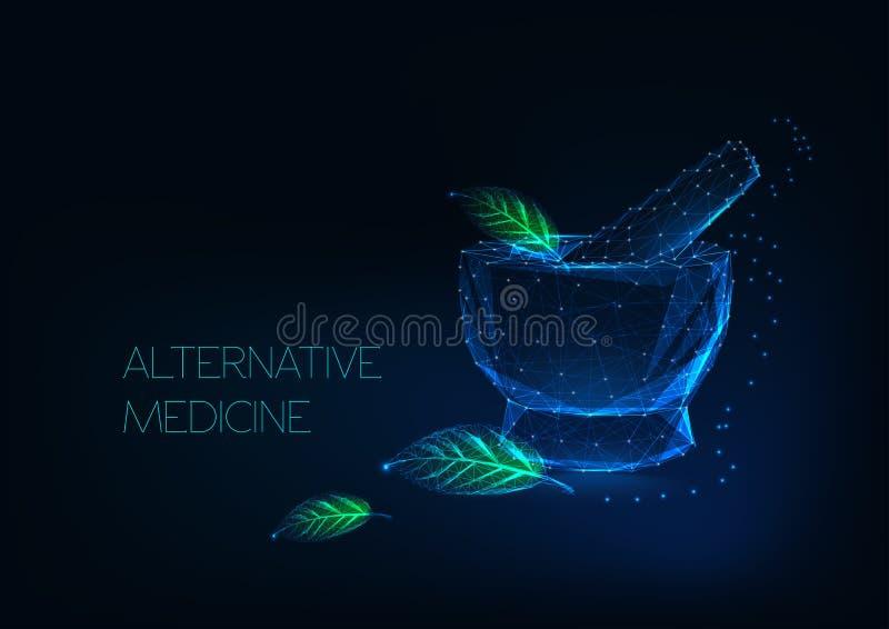 Alternatywnej medycyny pojęcie z rozjarzonymi moździerza i zieleni liśćmi robić gwiazdy, linie, punkty, trójboki royalty ilustracja