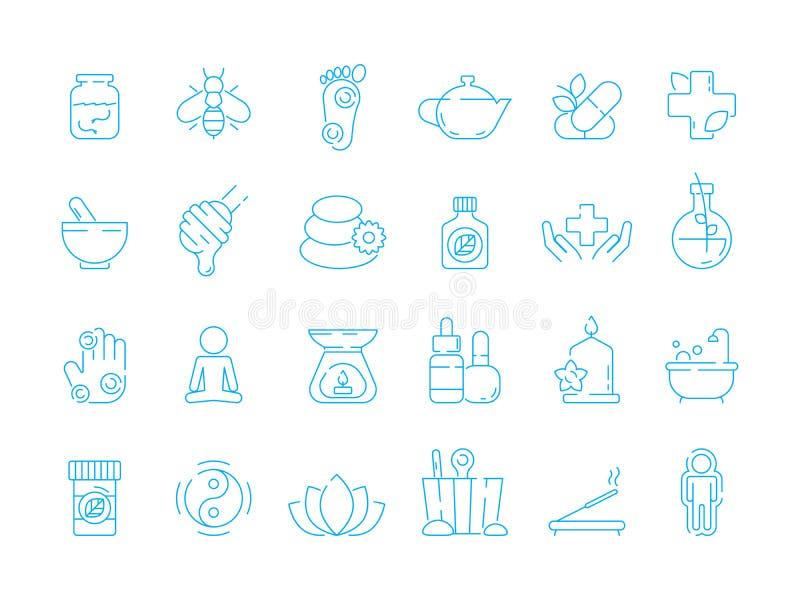 Alternatywnej medycyny symbole Holistycznej witaminy ziołowej opieki ikony tradycyjny naturopathy wektorowy liniowy set ilustracja wektor