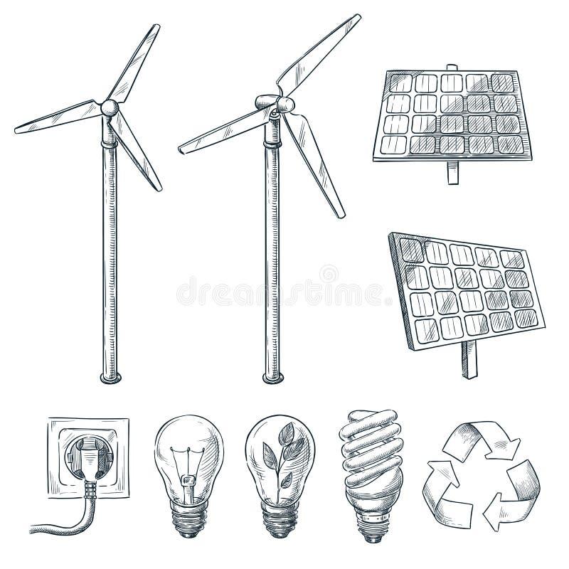 Alternatywni eco i energii odnawialnej ?r?d?a Wektorowa r?ka rysowa? nakre?lenie ilustracje Wiatrowego generatoru i s?onecznej ba ilustracja wektor