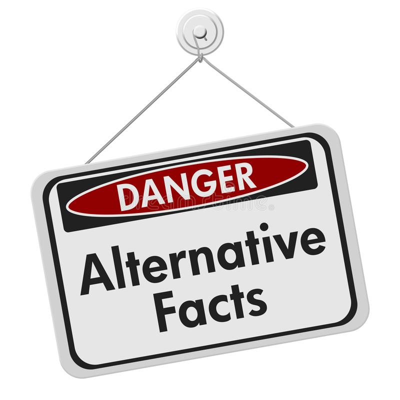 Alternatywny fact niebezpieczeństwo podpisuje biel ilustracji