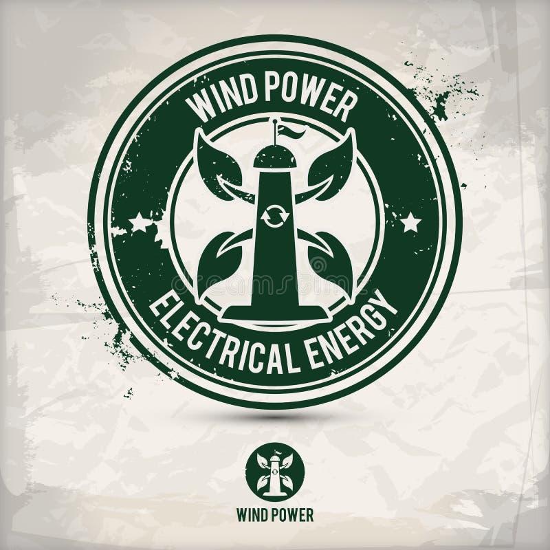Alternatywny wiatrowej energii znaczek ilustracji