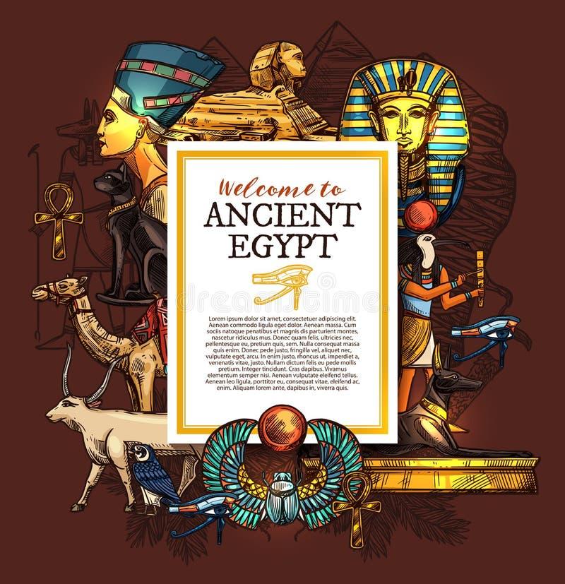 Altes Ägypten-Reiseplakat mit Landsymbolen stock abbildung