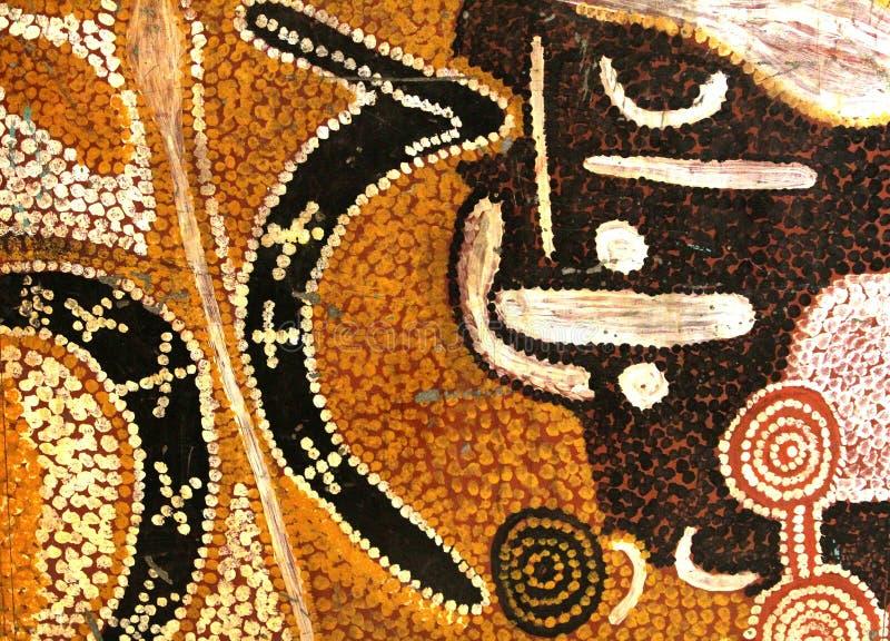 Altes abstraktes eingeborenes artwortk, Australien stockbild