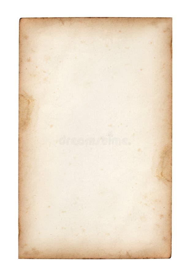 Altes Anmerkungspapier auf Weiß stockbild