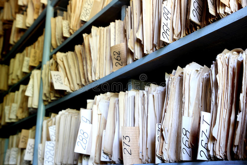 Altes Archiv lizenzfreie stockfotos