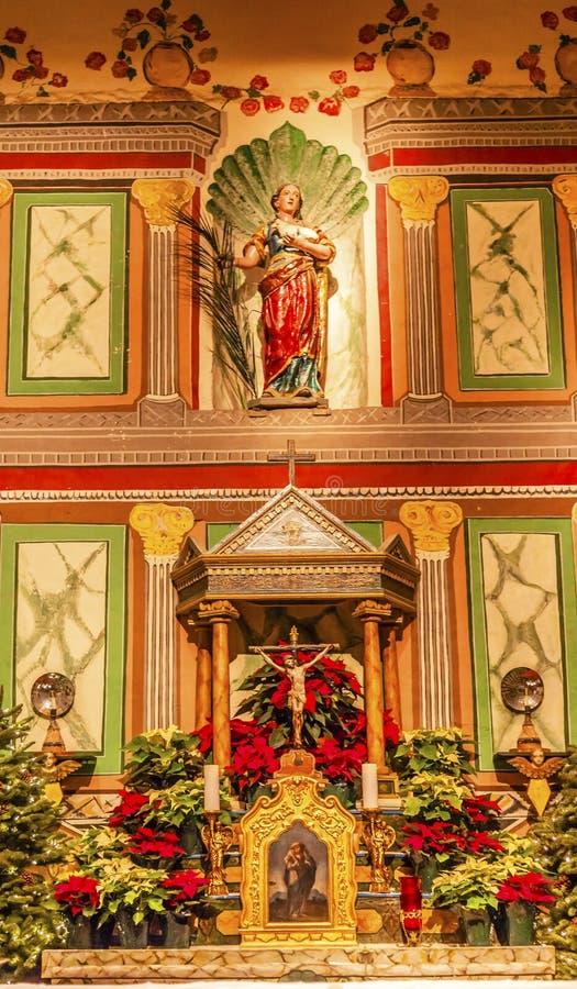Altes Auftrag-Santa Ines Solvang California Basilica Altar-Kreuz A lizenzfreies stockfoto