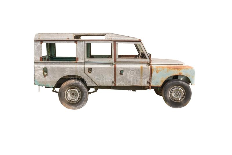 Altes Auto, lokalisiert auf weißem Hintergrund stockbild