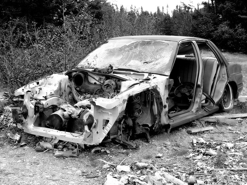 Altes Auto-Wrack stockfotos