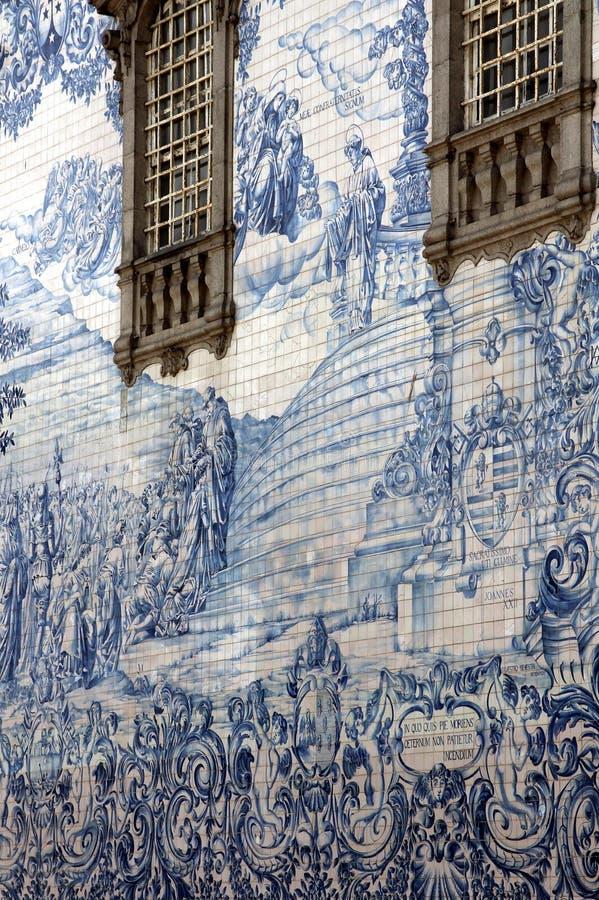 Altes Azulejo in der Stadt von Porto, Portugal. lizenzfreie stockfotografie