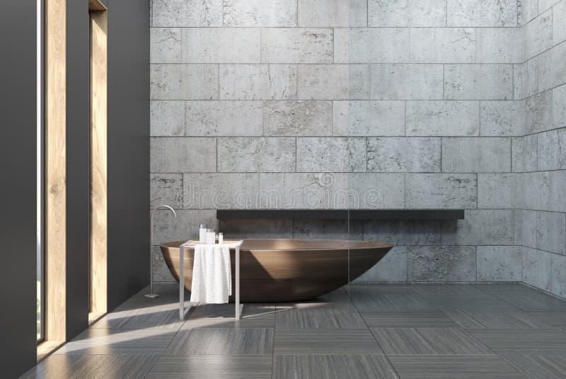 Altes Badezimmer mit Betonmauern lizenzfreie abbildung