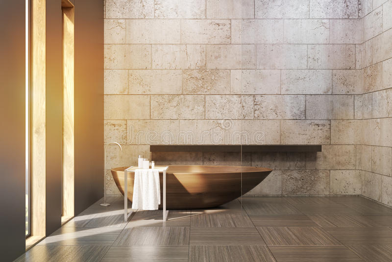 Altes Badezimmer mit den Betonmauern, getont stock abbildung