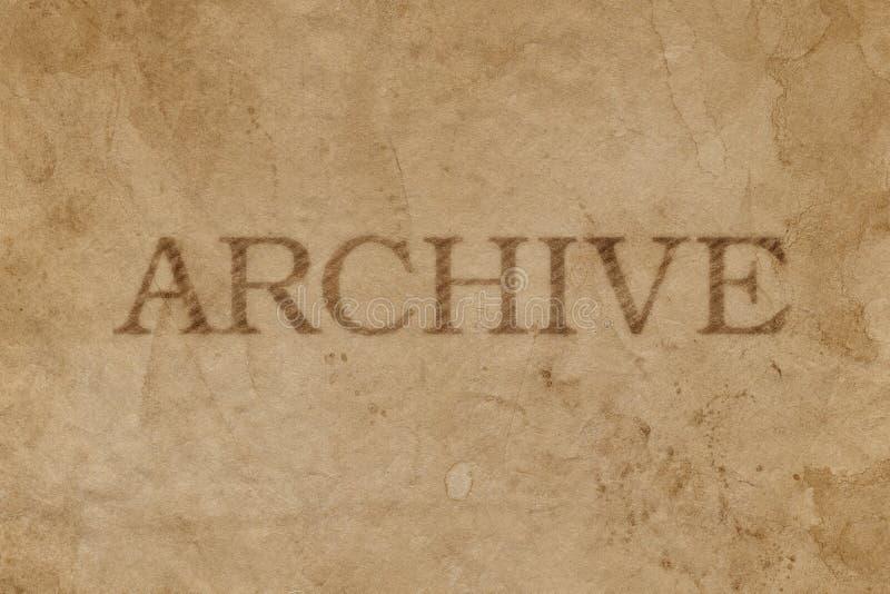 Altes beflecktes braunes Papier mit ARCHIV-Stempelimpressum lizenzfreie stockbilder