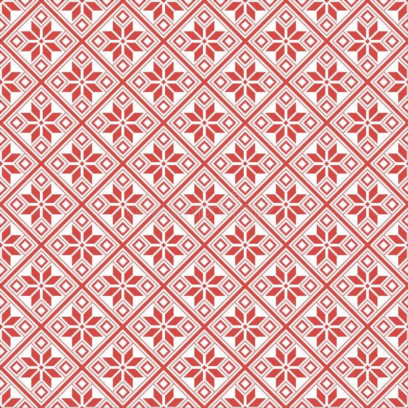 Altes belorussisches slawisches Muster des Pixels Weiße und rote ethnische Verzierung lizenzfreie stockfotografie