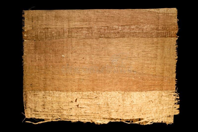 Altes Blatt des einfachen Papyrusses von Ägypten lokalisierte auf einem schwarzen Hintergrund stockbild