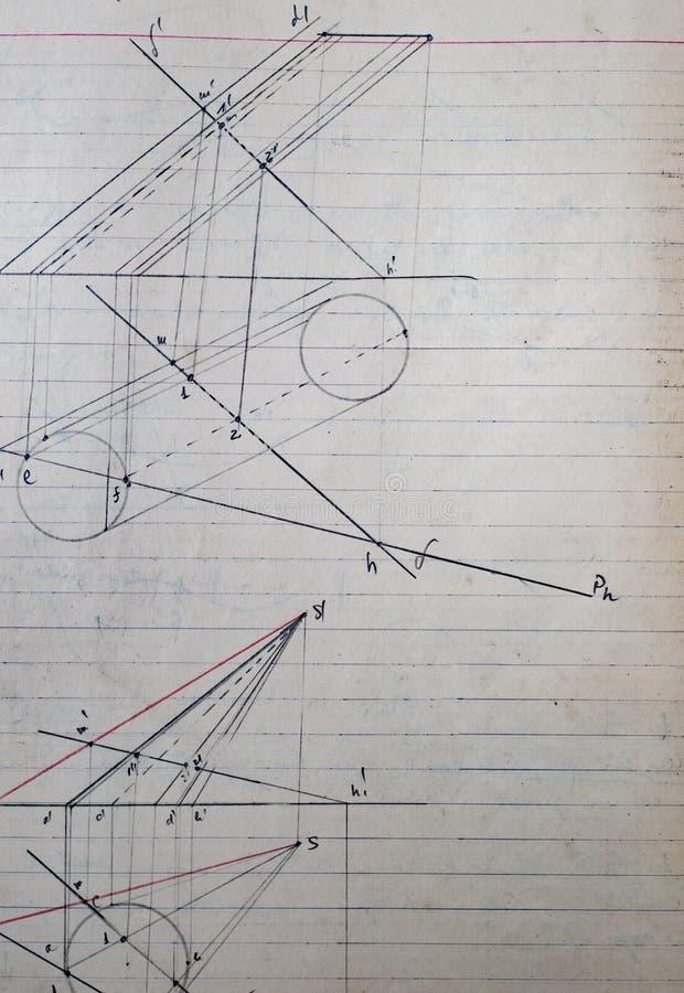 Altes Blatt Papier mit geometrischen Designen stockbild