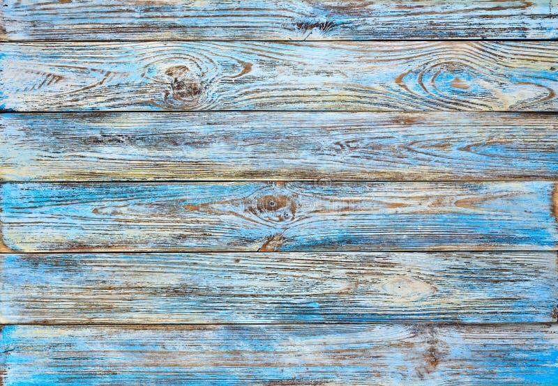 Altes Blau gemalter hölzerner Plankenhintergrund des Schmutzes stockfotografie