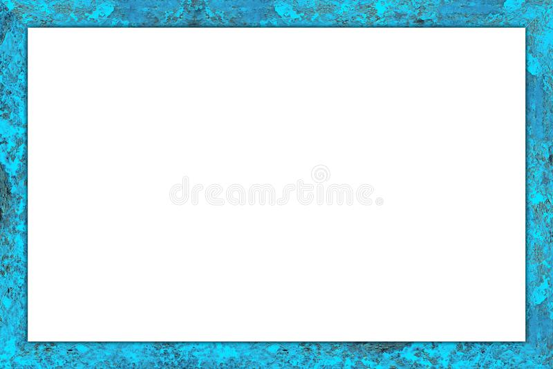 Altes Blau verwitterter hölzerner bunter Bilderrahmen lizenzfreie stockfotografie