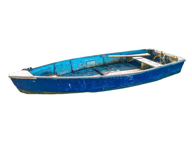 Altes blaues Fischerboot lokalisiert auf weißem Hintergrund lizenzfreie stockfotos