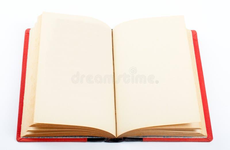 Altes Buch geöffnet auf beiden leeren Seiten stockbild