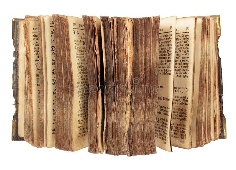 Altes Buch mit geöffneten Seiten stockfotos