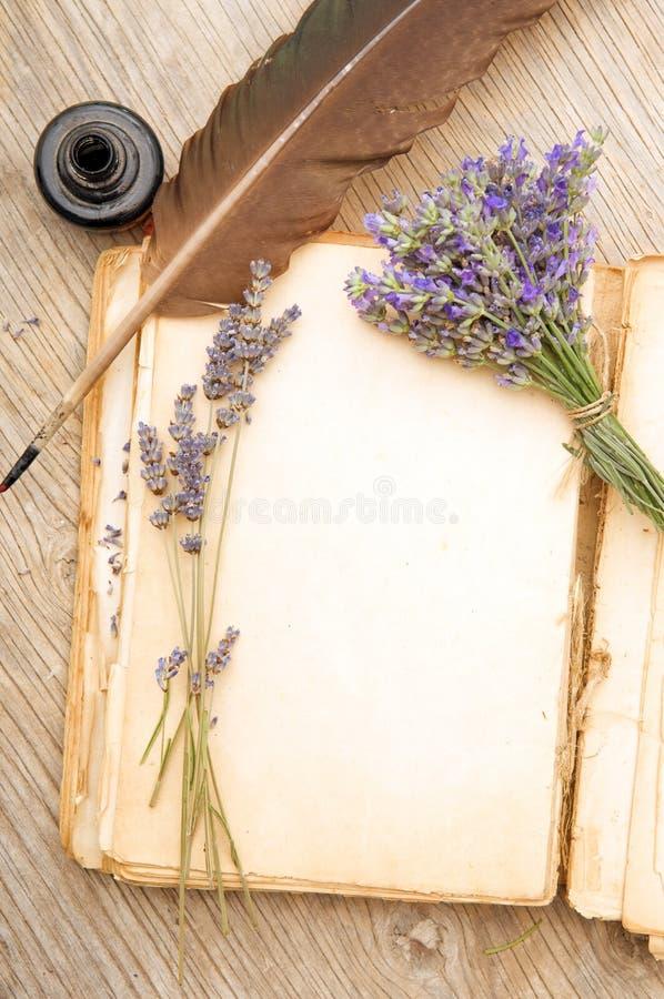 Altes Buch mit Lavendelblumen lizenzfreie stockfotos