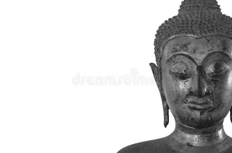 Altes Buddha-Bild im einfarbigen Ton auf weißem Hintergrund stockbild
