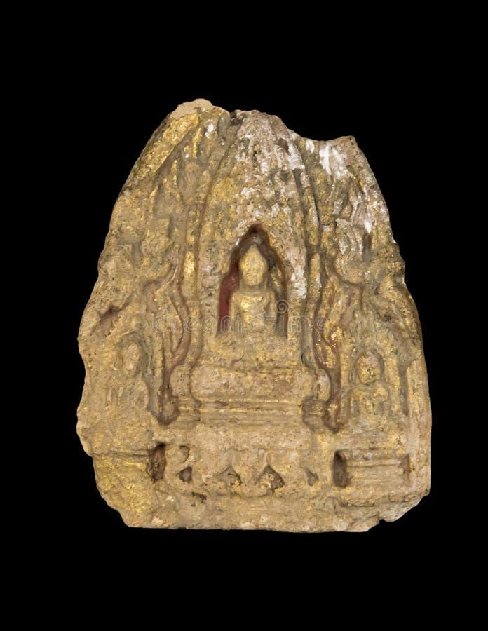Altes Buddha-Bild lokalisiert auf einem Schwarzen lizenzfreie stockfotos