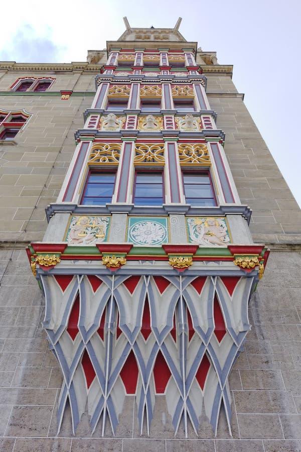 Altes buntes Gebäudedetail in Halle ein der Saale lizenzfreie stockfotografie