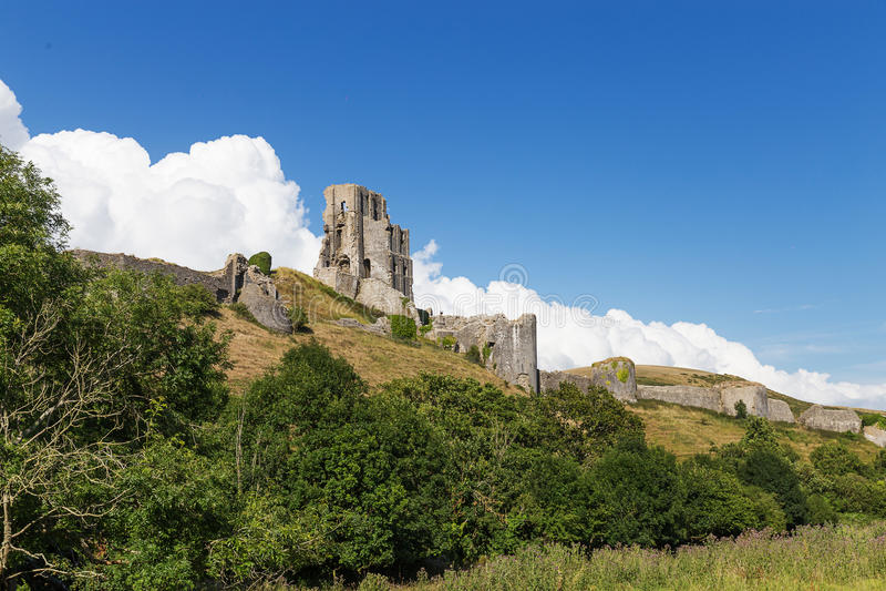 Altes Corfe-Schloss, Dorset, Vereinigtes Königreich stockfotos