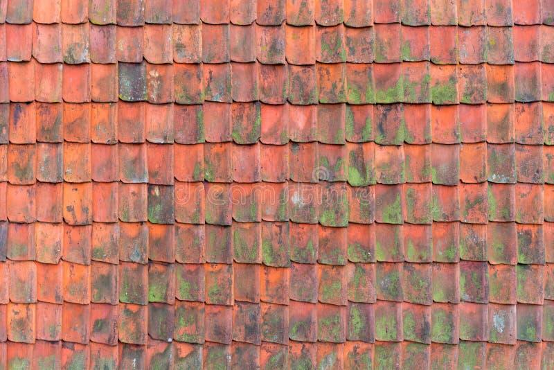 Altes Dach bedeckt mit dem redroof umfasst mit roten Fliesen-, alten und ruiniertemdächern Beschaffenheit eines Dachs mit alten D lizenzfreies stockbild