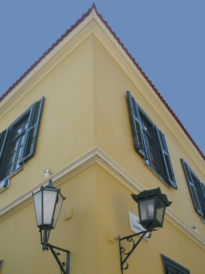 Altes Eckhaus stockfotos