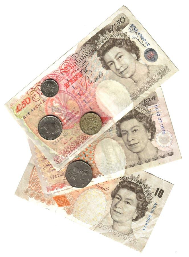 Altes England: Banknoten und Münzen stockbild