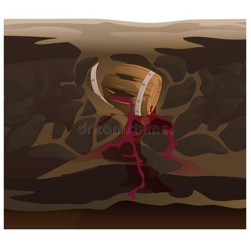 Altes Fass Wein unter Boden stock abbildung