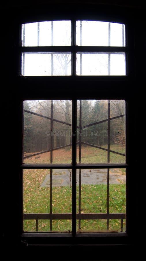 Altes Fenster und Herbstlandschaft stockfotografie