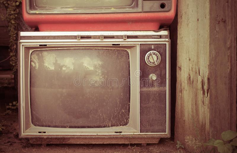 Altes Fernsehen des Retrostils ab 1950, 1960 und siebziger Jahre Weinleseton instagram Art gefiltertes Foto lizenzfreie stockfotografie